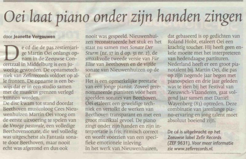 Beethoven door Martin Oei in PZC BN DE Stem